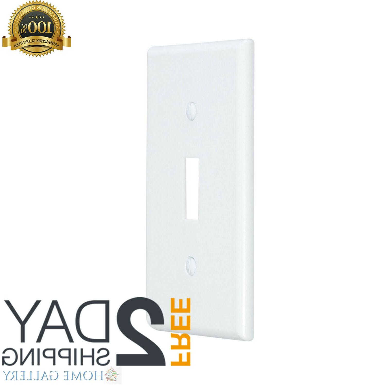 1-Gang Toggle Wall Plate White Pack of 10 Plastic Unbreakabl