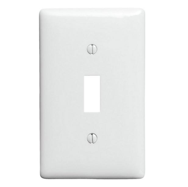 1 gang toggle wall plate white plastic