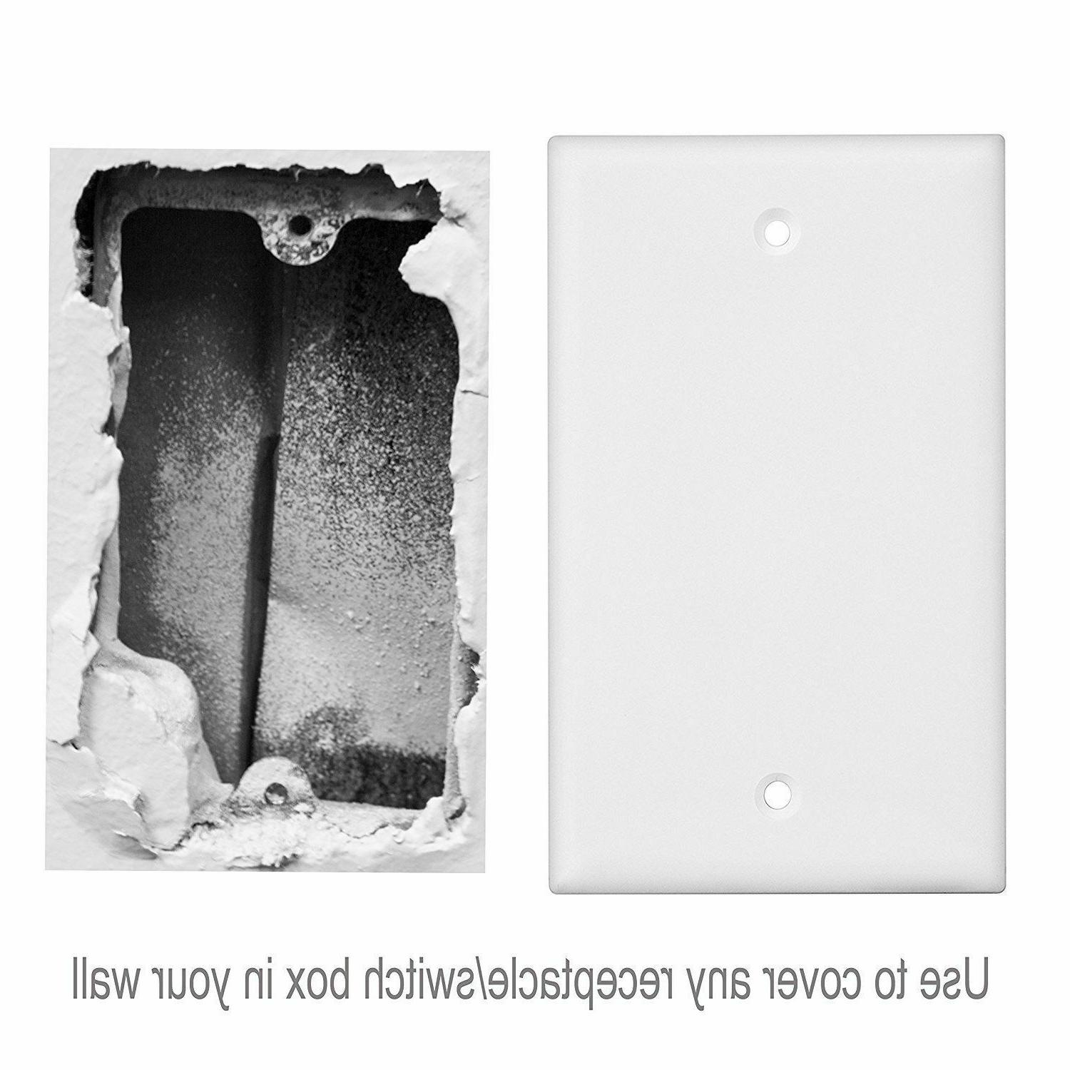 1-Gang White Single No Outlet Wall Plastic, 10 Pack