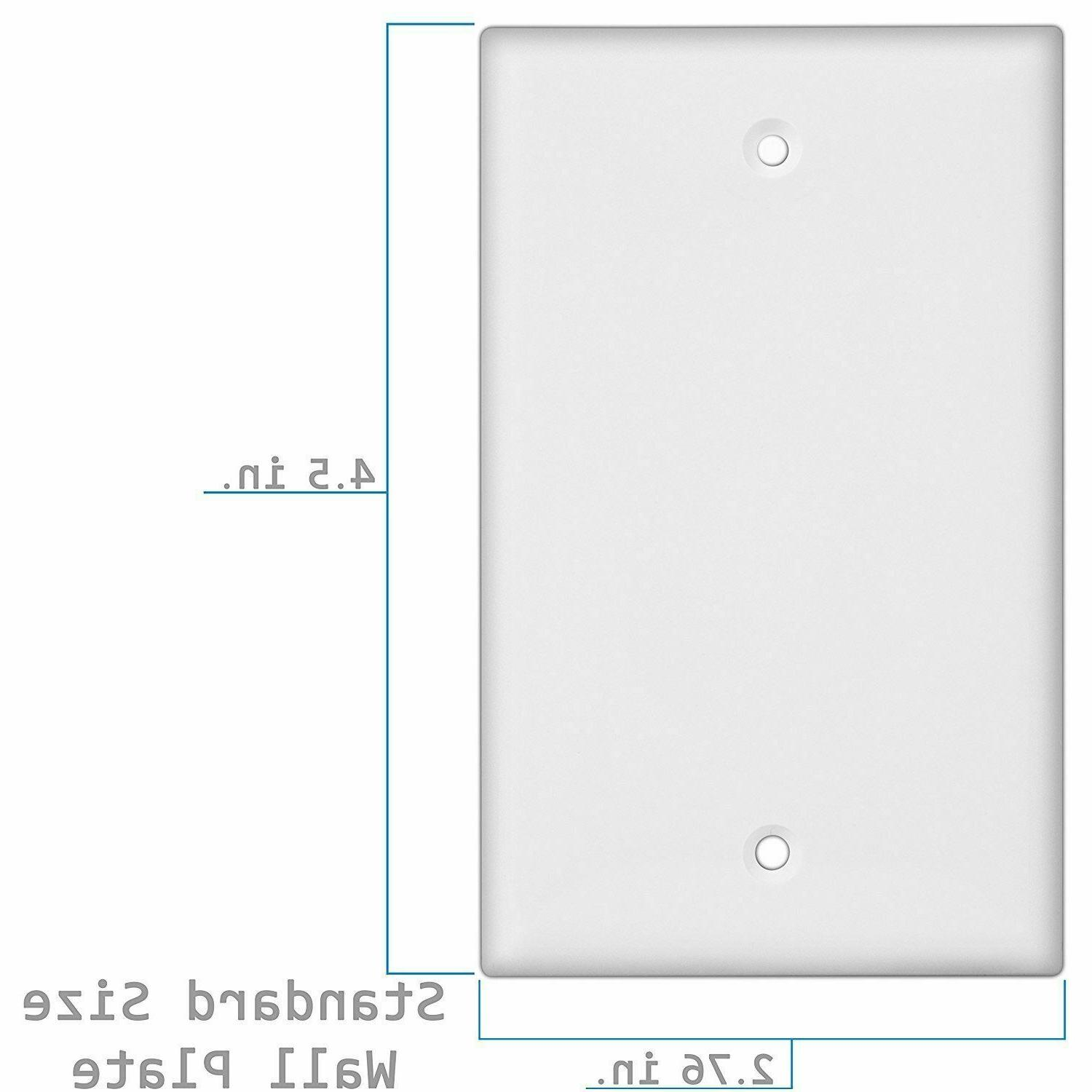 1-Gang White No Wall Plate, Plastic, 10 Pack