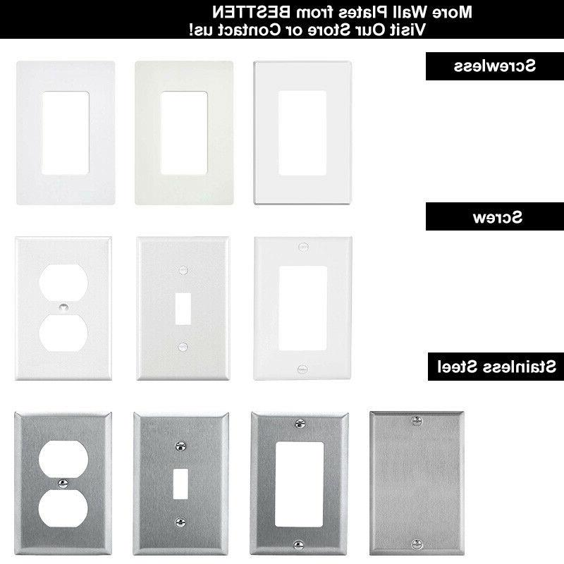 10PK Decorator Steel Gang Switch Covers