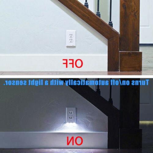 10Pcs Outlet Plate Led Angle Light Guidelight Cover Built in Sensor