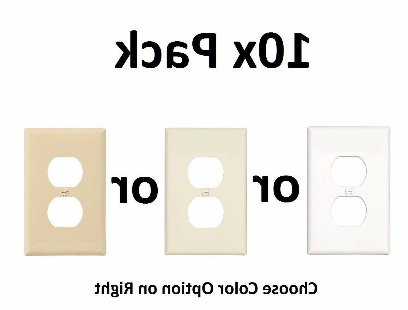 10x White Almond Ivory Single Electrical Outlet Duplex Wall