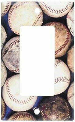 Art Plates 111-R-plate Single Rocker Old Baseballs Switch Pl