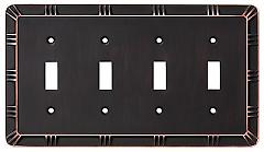Brainerd 135872 Quad Switch Wall Plate, Bronze with Copper H