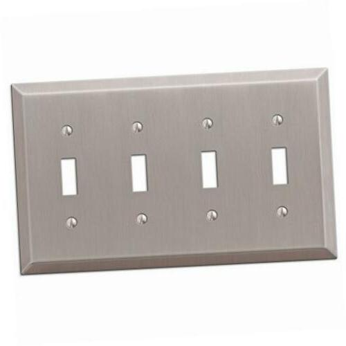 163t4bn century steel 4 toggle wallplate, brushed nickel