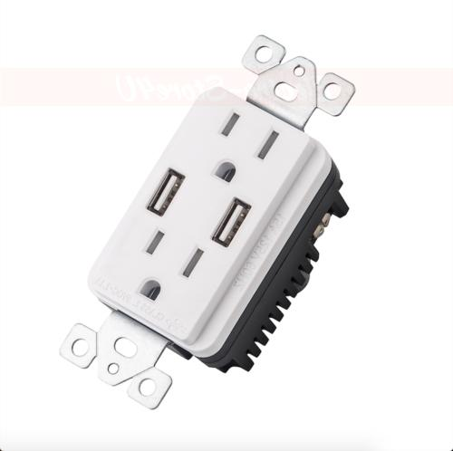 Wall Plate 2.1A Outlet AC UL ETL
