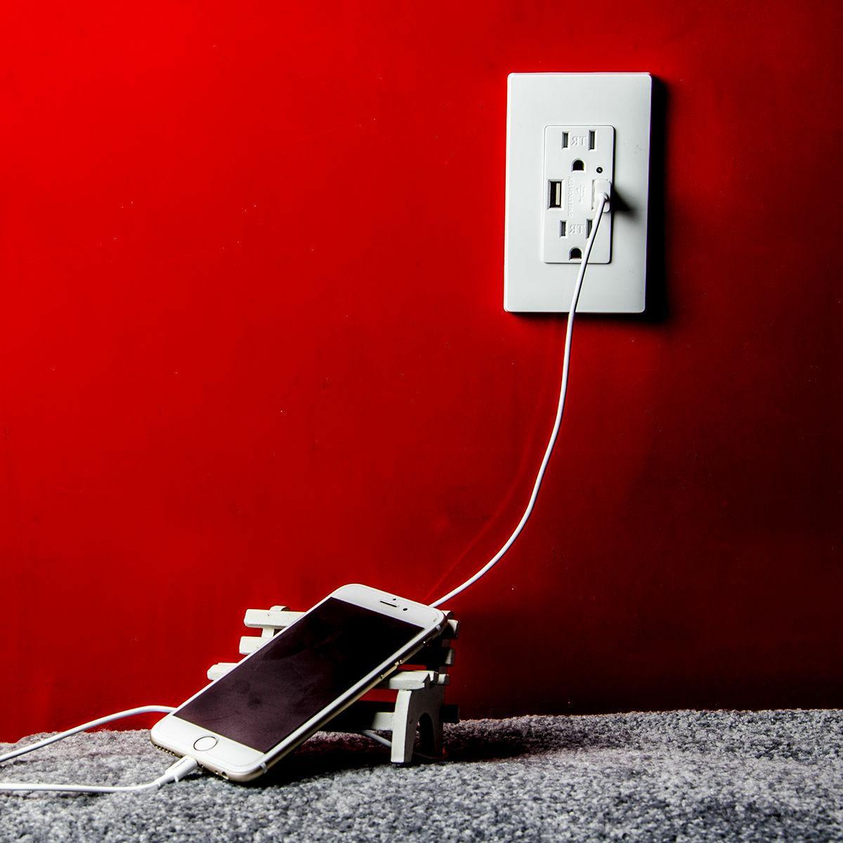 2 USB Ports Wall 2.1A 5V Outlet AC UL ETL