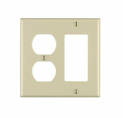 2-Gang Combo Wall Plate Cover Ivory Decorator Duplex Wallpla