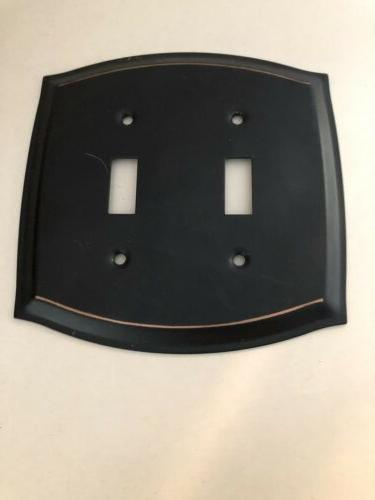 2 toggle aged bronze steel wall plate