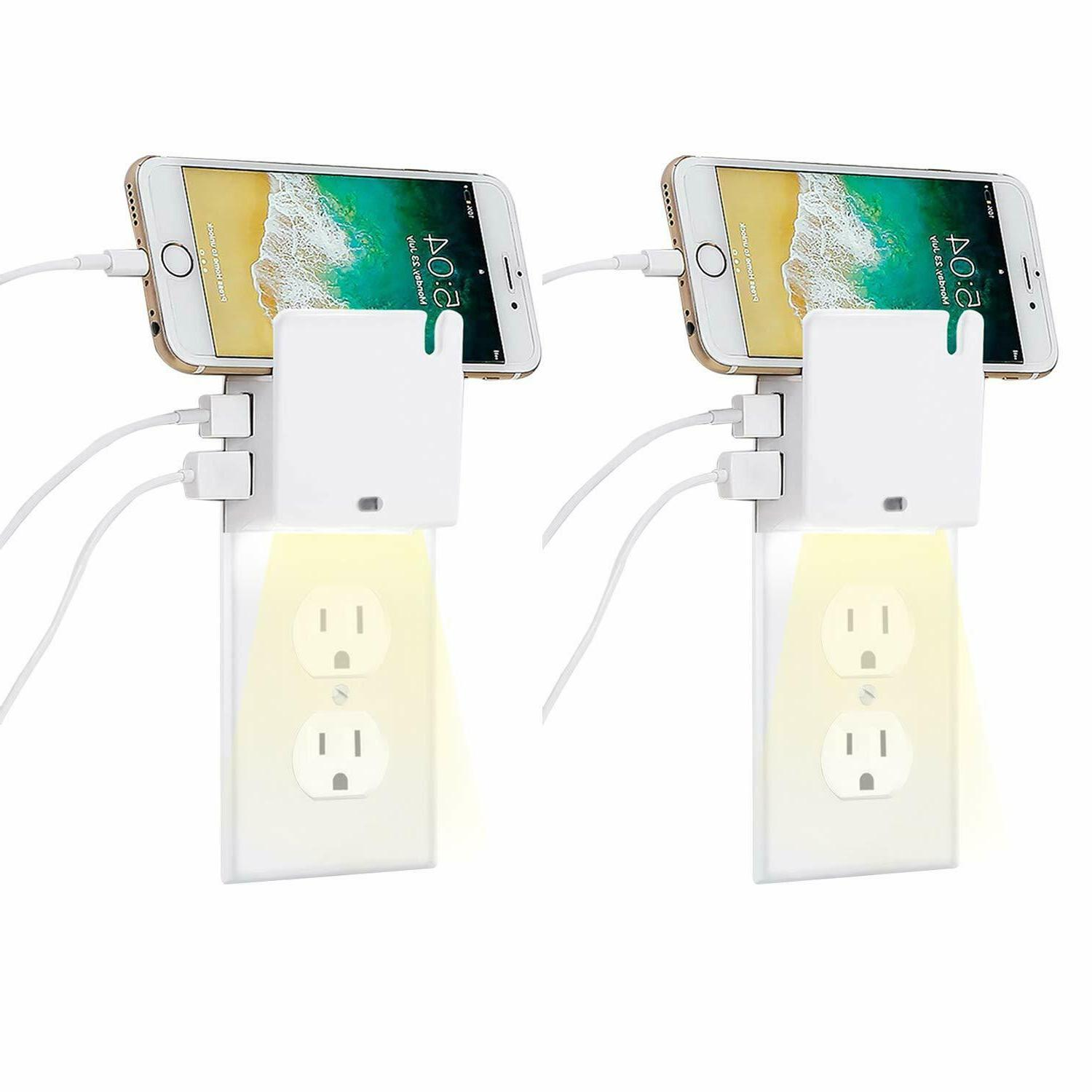 2x Duplex Wall Outlet Cover Wall Plate with Led Sensor Night
