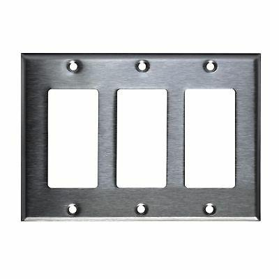 3-Gang Switch Plate Stainless Steel Decorator GFCI Wall Rock