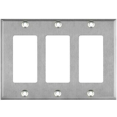 3 gang switch plate stainless steel decorator