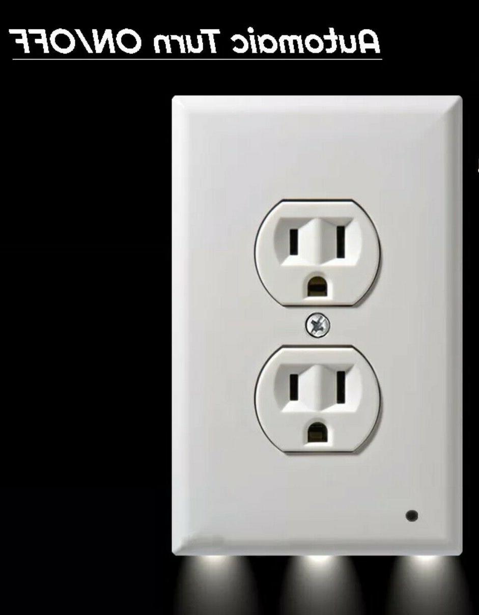 3-Pack Wall Outlet Cover wall plate night lights Ambient sensor