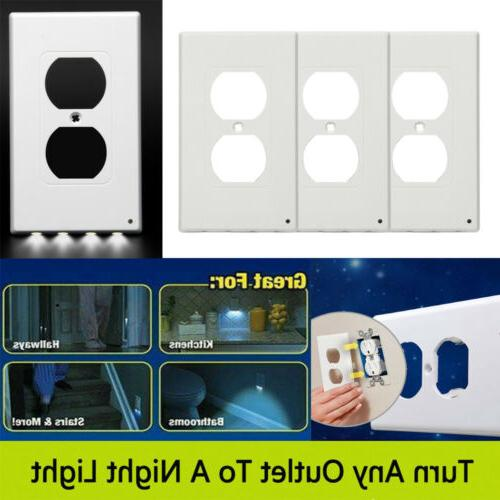 3pcs outlet wall plate 4 led night