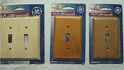 4 GE Decorator Wood and Metal Wall Plate Switch Covers