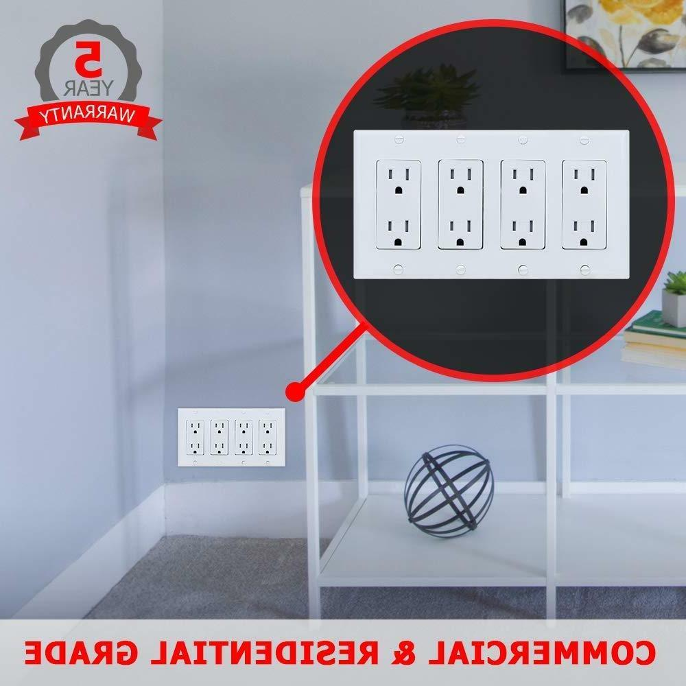 4-Gang Wall Plate for Paddle/Rocker Light and Outlets,