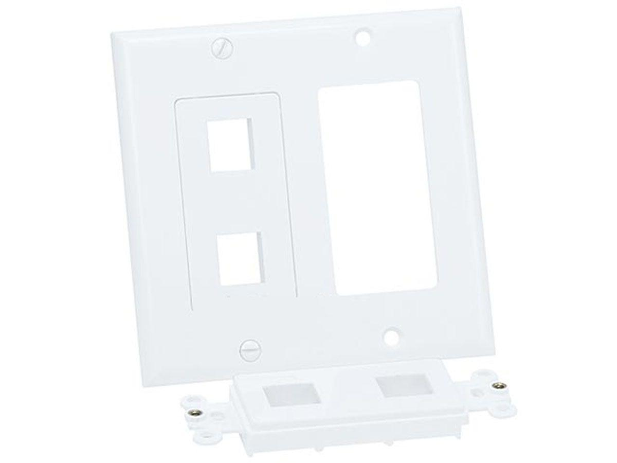 4 port white wall plate for keystone