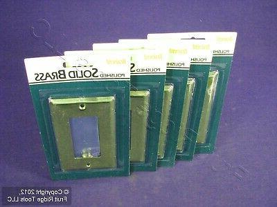 5 Brainerd 1-Gang SOLID Polished BRASS Decorator Wallplate C