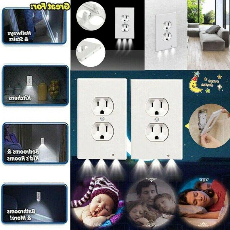 5 Pack Outlet Wall Plate Cover With Light Sensor