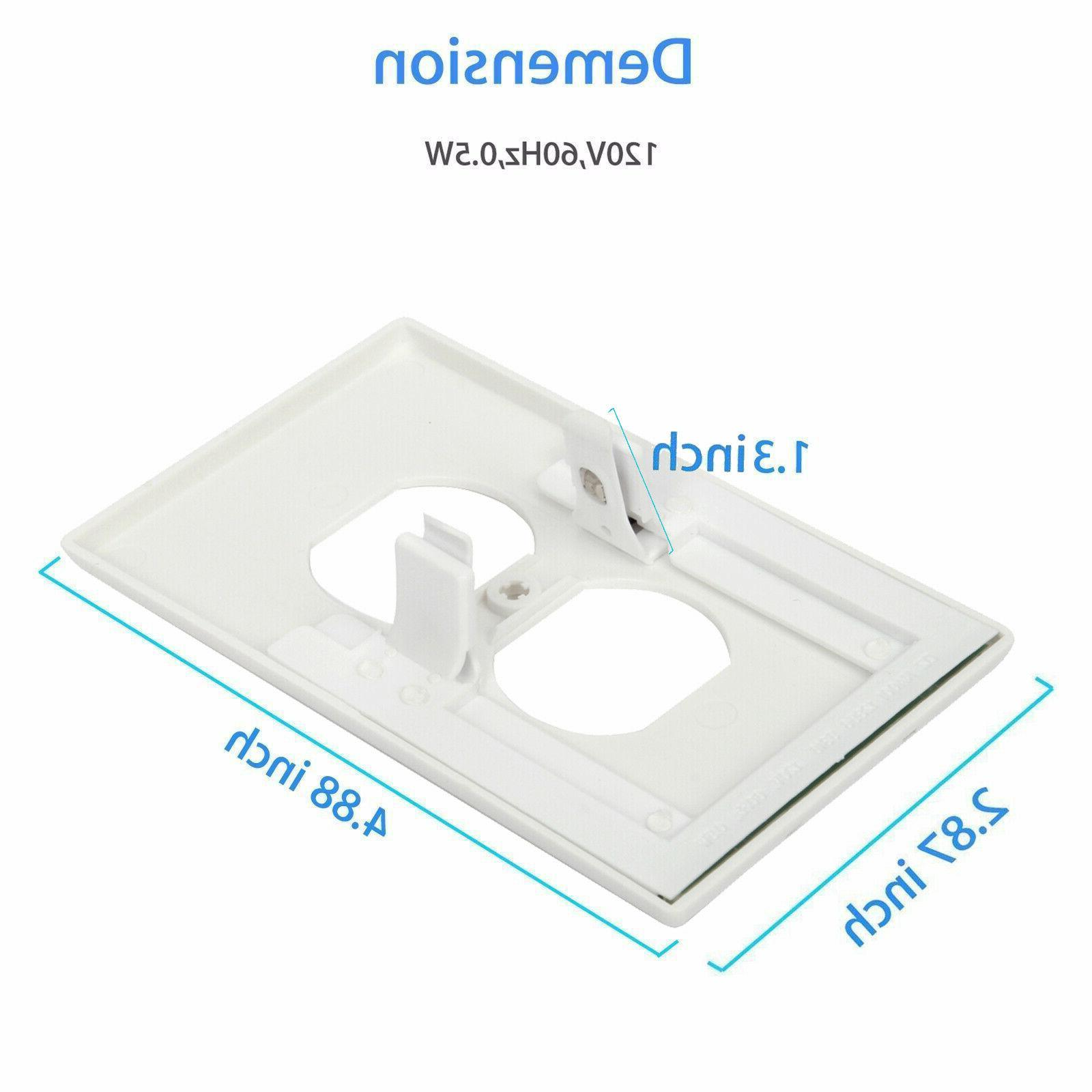 Pack 5 Outlet Wall Plate Led Night Light Cover W/ Ambient Light Sensor