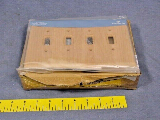 5 Liberty Hardware Wall Plate, Square Corners in Wood, Quad