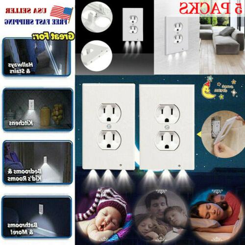 5pc outlet wall plate led night lights
