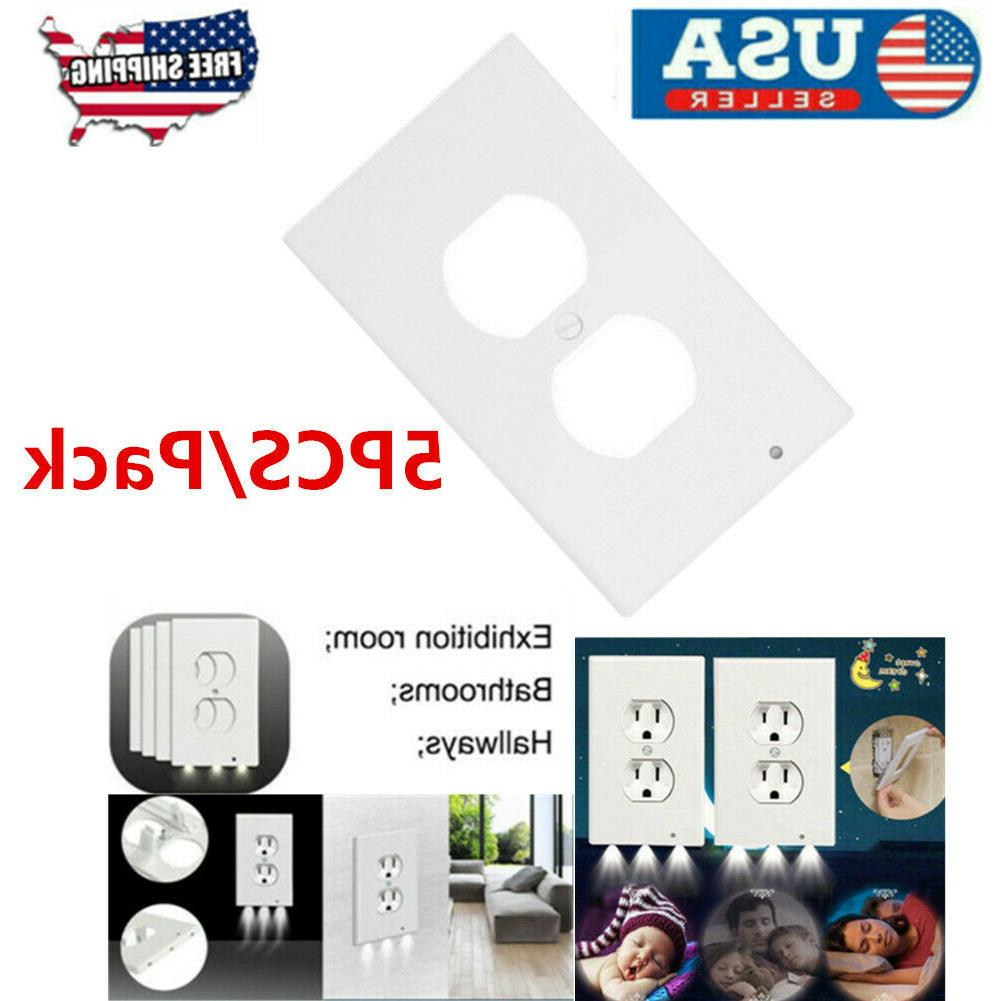 5pcs outlet wall plate led night lights