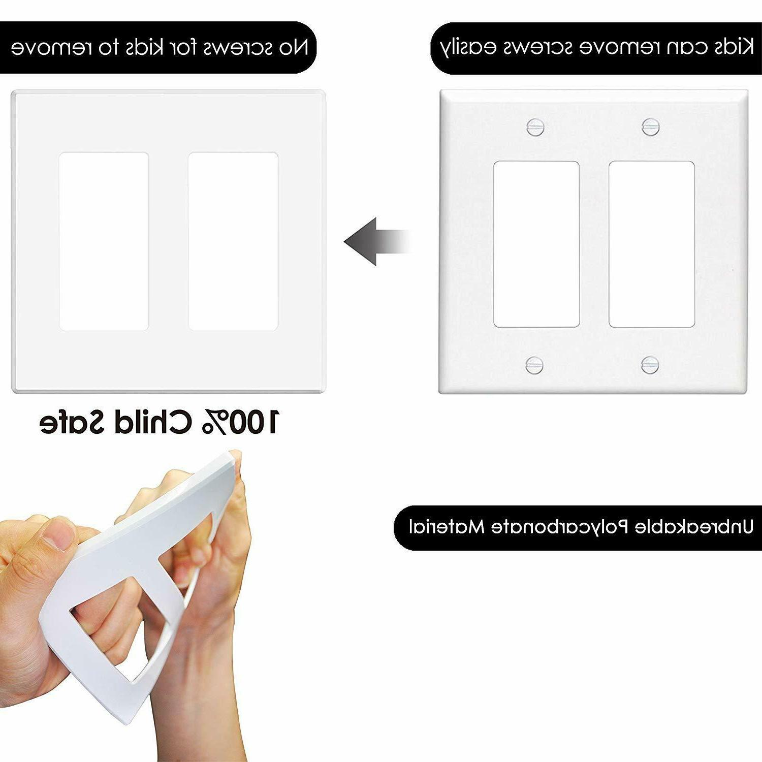 5PK Decorator Wall Plate Outlet White