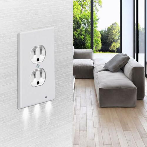 5x Outlet Plate Led Night Lights Cover Duplex With Light Sensor US