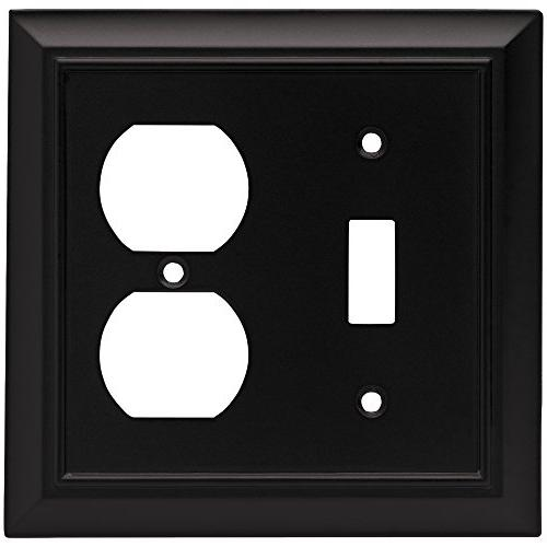 Brainerd 64213 Architectural Single Toggle Switch/Duplex Plate / Switch Plate / Cover, Flat Black