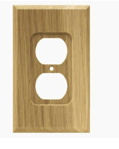 Brainerd 64665 Wood Square Single Duplex Outlet Wall Plate /