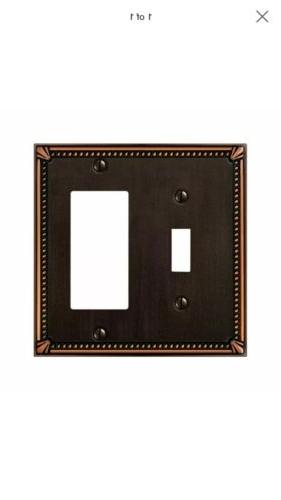 Amerelle 74TRDB Imperial Bead 1 Toggle 1 Rocker Wall Plate,
