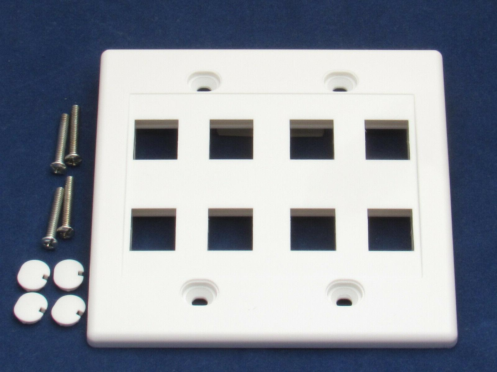 8 Port RJ45 CAT5 CAT5e Network Faceplate Wall White