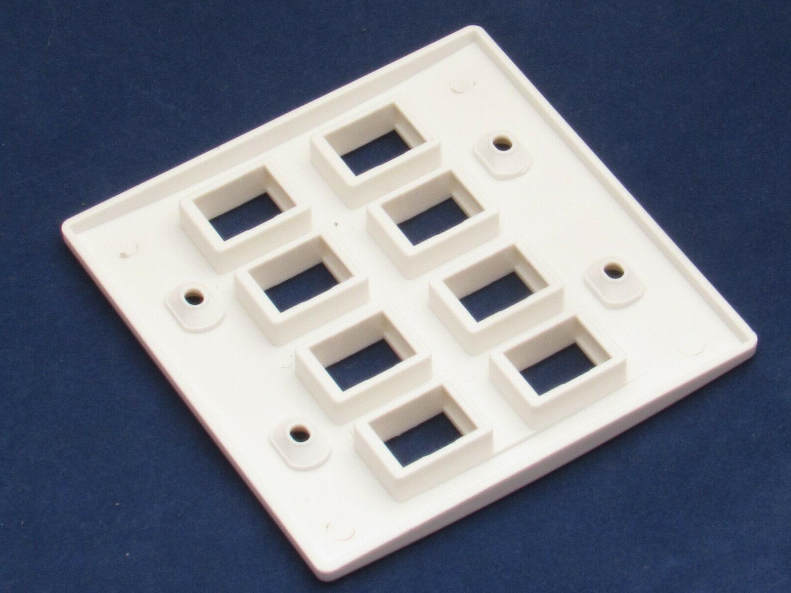 8 RJ45 CAT5 CAT5e Network Faceplate White