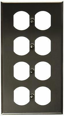 Morris 83240 430 Wall Plate, Duplex Receptacle, 4 Gang, Stai