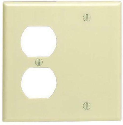 Leviton 86008 001-000 1-Duplex 1-Blank Standard Size Wall Pl