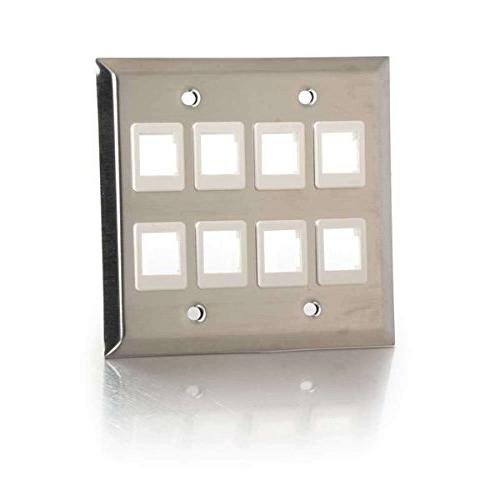 C2G 37099 Keystone Double Plate, Stainless