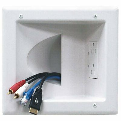 Datacomm 45-0031-WH Recessed Low Voltage Media Plate with Du