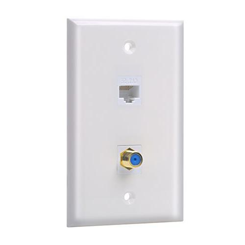 IBL-1 Cat5e keystone Ethernet Port and 1 Gold-plated Coax F
