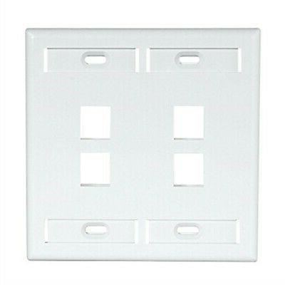 Leviton 42080-4WP 4-Port Dual Gang QuickPort Wallplate with