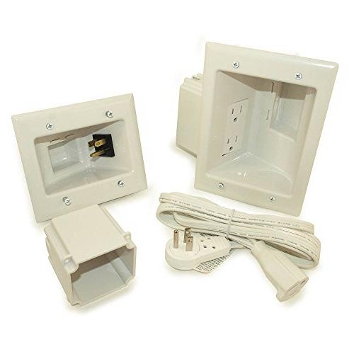 MyCableMart Wall plate: Flat Panel TV Power Kit with Gang Bo