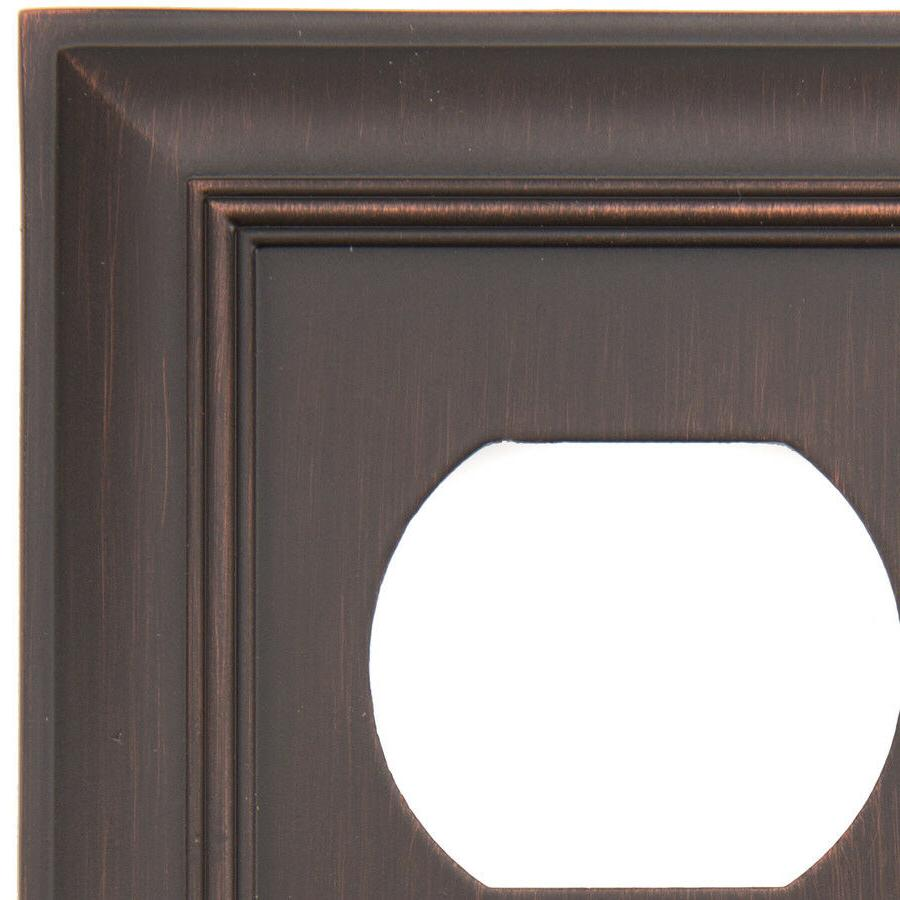 allen + roth Cosgrove 1-Gang Oil-Rubbed bronze Round Wall Plate
