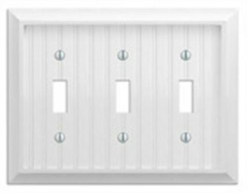Amertac 279TTTW 3 Toggle Cottage White Wood Wallplate