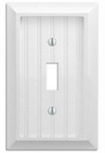 Amertac 279TW 1 Toggle Cottage White Wood Wallplate