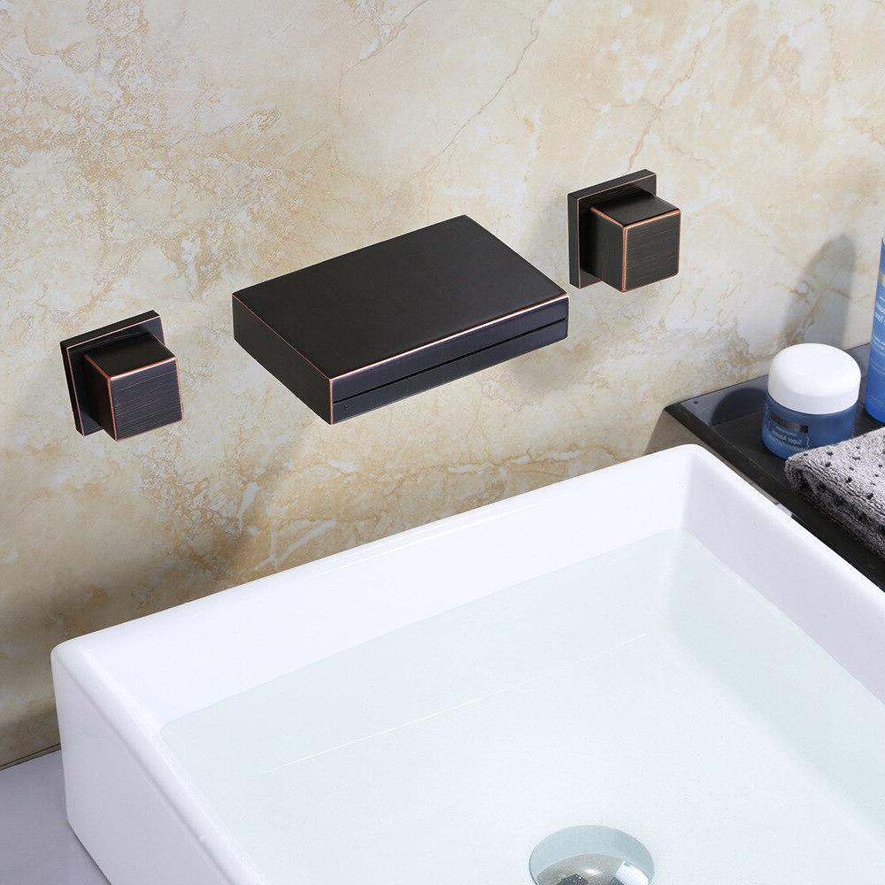 MTTUZK Faucet Spout Tap <font><b>Rubbed</b></font> <font><b>Bronze</b></font> Double <font><b>Wall</b></font> Mounted Sink Faucet Hot Mixer