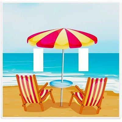 beach chairs umbrella wallplate wall plate decorative