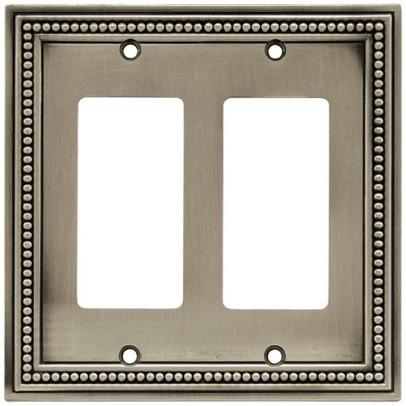 Beaded Double Decorator Plate / Switch / Brushed Pewter