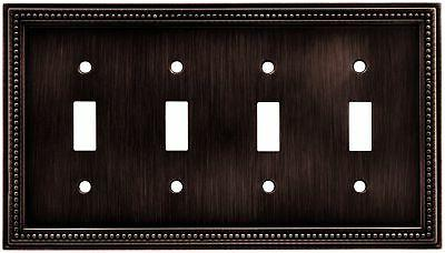 Beaded Quad Switch Wall Plate - Finish: Venetian Bronze