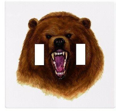 bear head wallplate wall plate decorative light